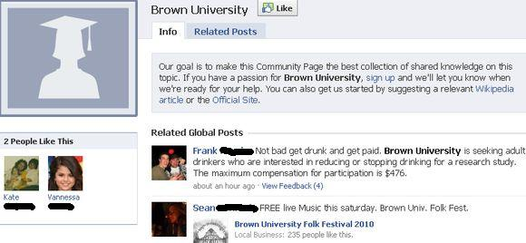 Brown Facebook Community Page